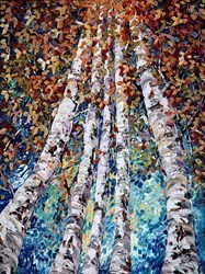Golden Leaves II by Maya Eventov -  sized 36x48 inches. Available from Whitewall Galleries